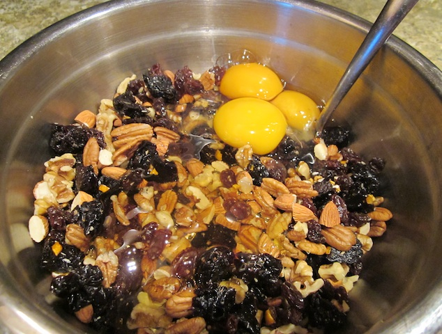 mix wet ingredients Christmas Fruitcake, Raw Cashew Marzipan with Orange Peel Glaze
