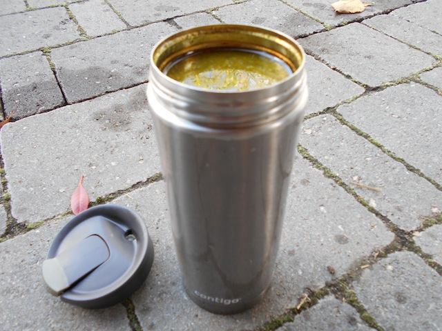 A stainless steel travel mug will keep the broth hot longer making sipping the broth more pleasant. A go anywhere drink!